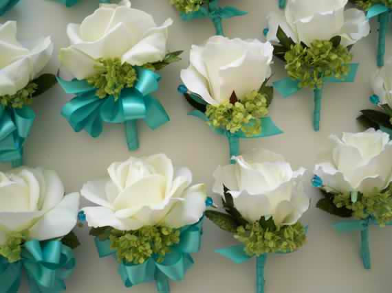 Realtouch Roses And Green Snowball Tiffany Blue Wedding Bridal Bouquet Set