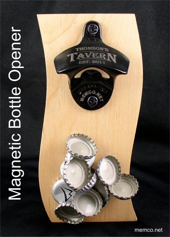 Свадьба - Set of 5 Groomsmen Gifts Magnetic Wall Mount Bottle Opener - Stainless Steel or Black - Free Personalization!