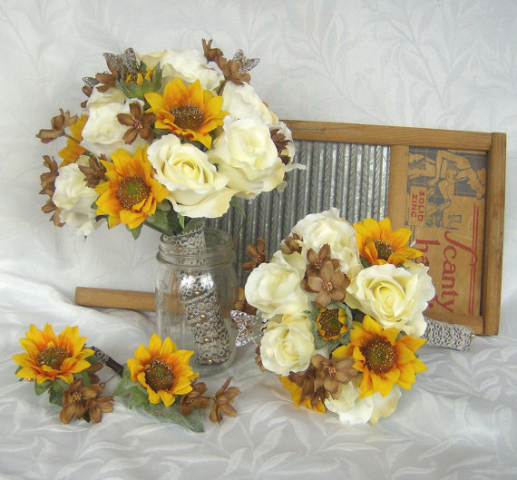 Sunflower Bridal Bouquet Sunflower Roses Wedding Bouquet Silk Bridal ...