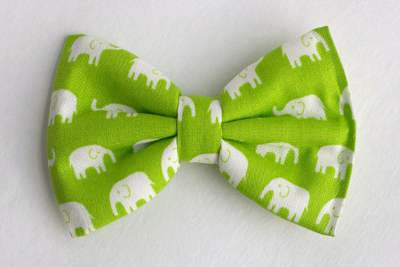 Mariage - Boys Bow Tie Green White Elephant, Newborn, Baby, Child, Little Boy, Great for Special Occasion Wedding or Photo Prop