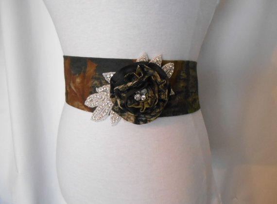 Wedding - Camo Sash, Camouflage, Mossy Oak, Real Tree Bridal Sash, Prom Sash, Wedding Sash Bridal Sash