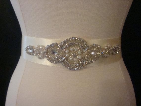 Свадьба - Bridal Sash - Wedding Dress Sash Belt - Rhinestone and Pearl Ivory Wedding Sash - Ivory Rhinestone Bridal Sash