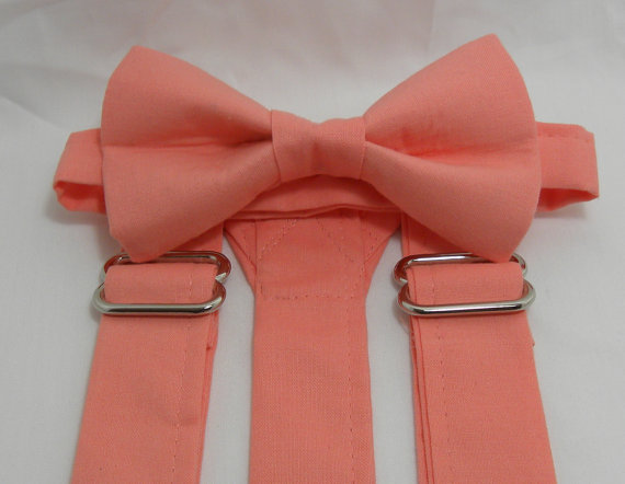 Свадьба - SALE David's Bridal Coral Reef Suspenders and Bow Tie Set.Sizes Newborn - Adult. Perfect for a Wedding. Free Shipping for 3 or more Sets.