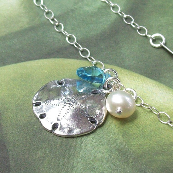 Hochzeit - Sand Dollar Anklet, Tropical Anklet, Sterling Silver Anklet, summer, plus size bracelet, freshwater pearl, aqua, bridal, beach jewelry
