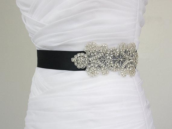 زفاف - SALE 30% OFF - Best Seller - MIRANDA - Floral Crystal Rhinestone Bridal Sash, Beaded Wedding Sash, Rhinestone Bridal Belt
