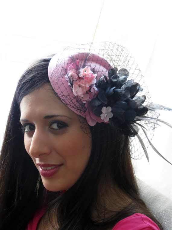 Pale pink fascinator with black veil wedding cocktal hat WINTERLICIOUS PINK fd92f46e533