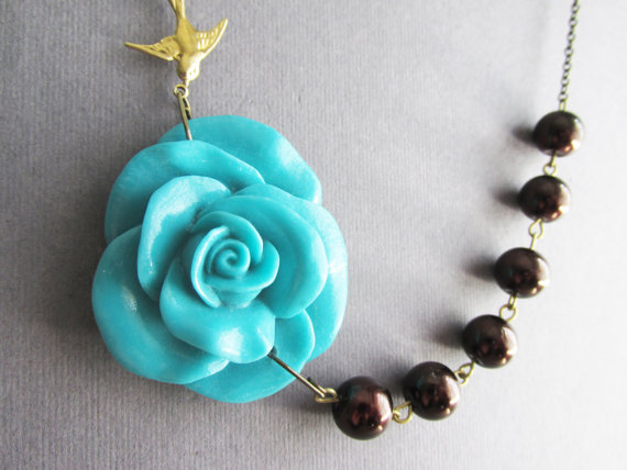 Mariage - Statement Necklace,Bridesmaid Jewelry Set,Turquoise Flower Necklace,Brown Pearl Jewelry,Wedding Jewelry,Beadwork (Free matching earrings)