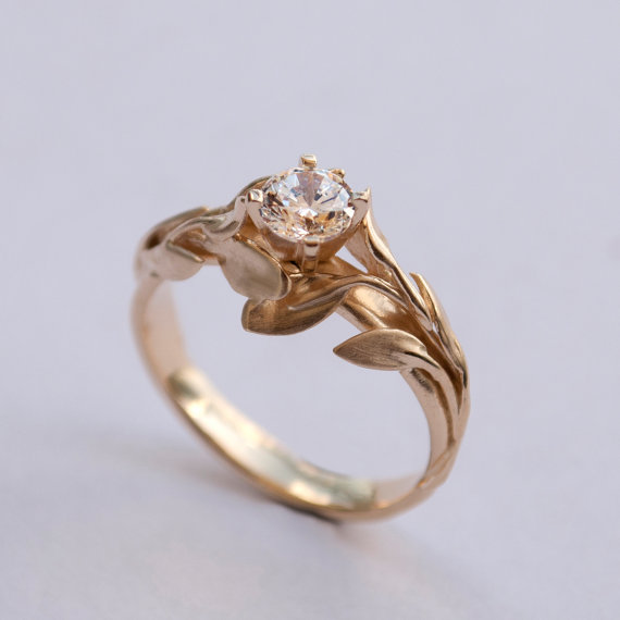 Mariage - Leaves Engagement Ring No. 4 - 14K Gold and Diamond engagement ring, engagement ring, leaf ring, filigree, antique, art nouveau, vintage