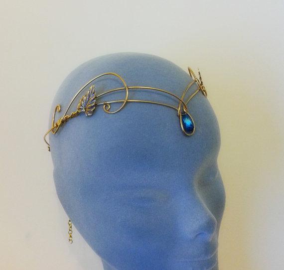 زفاف - Medieval crown headpiece tiara fantasy wedding circlet forehead jewellery GOLD bermuda