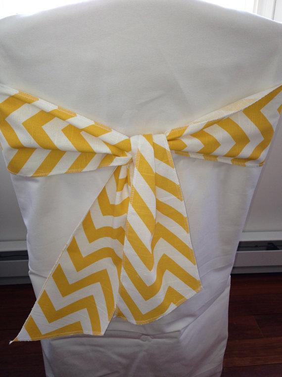 "Wedding - Corn yellow and white chevron chair sash, 4.5"" wide x 72"" Long  wedding decorations, chair bow, cotton"