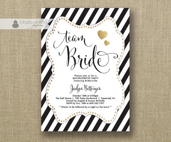 Team Bride Black White Bachelorette Party Invitation Gold Glitter Heart Bridal Hen Lingerie FREE
