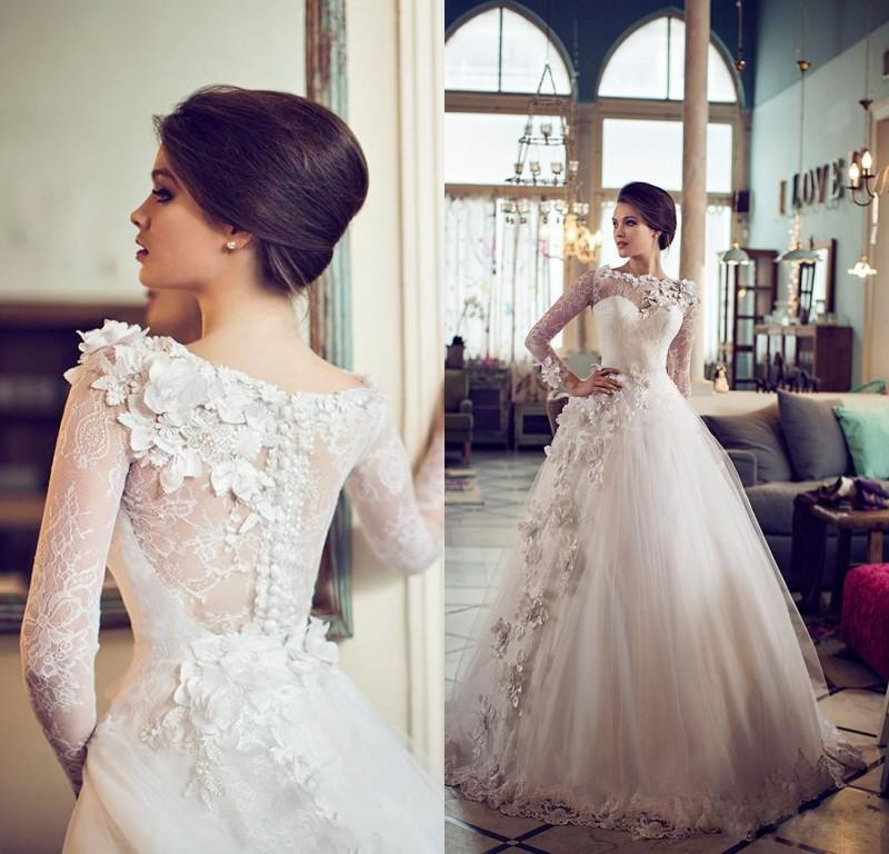 3068a8f34a Lace Long Sleeves 2014 Beautiful Wedding Dresses With Bateau Applique Ball  Gown Tulle Bridal Gowns Floor Length Custom Made EM01972 Online with ...