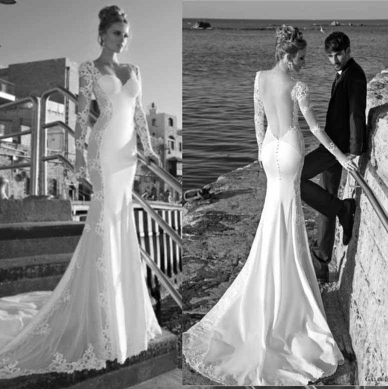 Lace Sleeve Backless Wedding Dress Of 2014 New Arrival Galia Lahav Beach Wedding Dresses V Neck