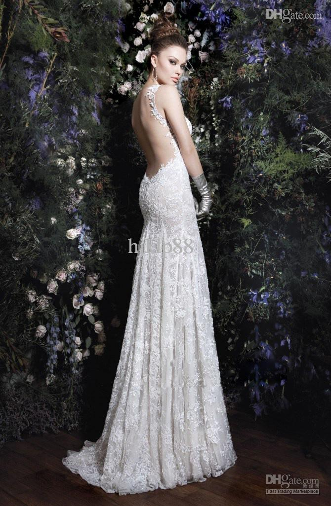 Galia Lahav 2013 New Hot Sell Sexy Backless Elegent Lace Wedding Dresses Beaded White Ivory Summer Mermaid Garden Dress Bridal Gowns Online With
