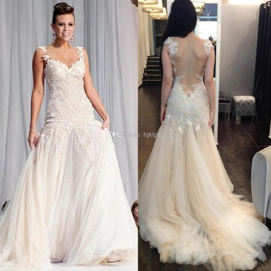 Best 2014 sexy backless beach appliques flowers mermaid sheer best 2014 sexy backless beach appliques flowers mermaid sheer spaghetti lace tulle bridal gowns wedding dresses court train by galia lahav online with ombrellifo Images