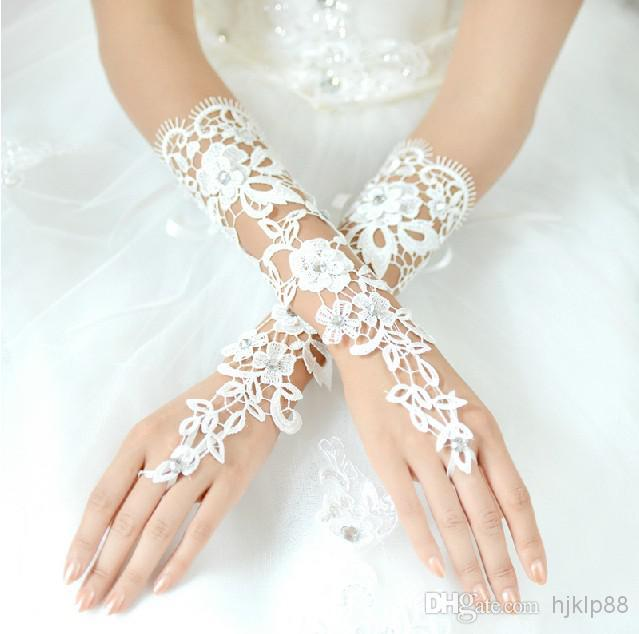 New Beautiful Bridal Accessories About 29cm Luxury Lace Flower Glove Hollow Long Gloves Wedding Dresses White And Ivory Online With