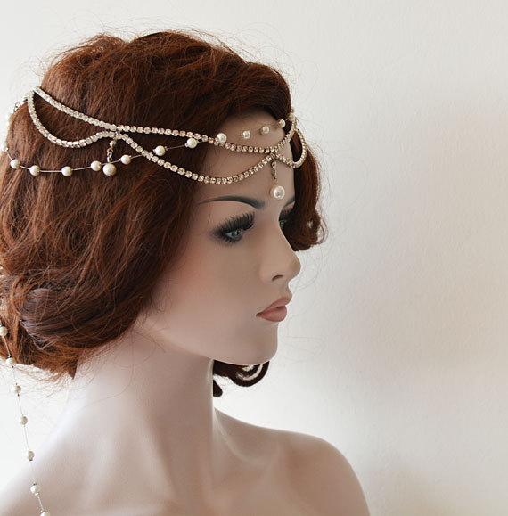 Bridal Headband Wedding Headpiece Rhinestone And Pearl Rhinestone Halo Rhinestone Headband ...