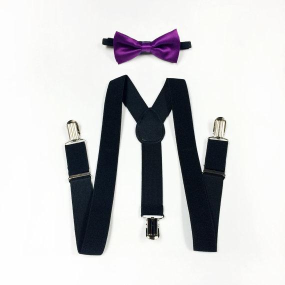 Свадьба - boy's bowtie and suspenders, boys suspenders set, baby boys suspenders and bowtie, royal purple bowtie and black suspenders, ring bearer
