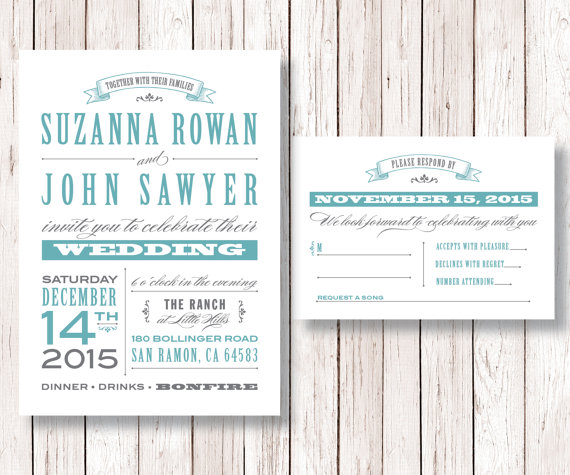Wedding Invitations Old Fashioned: Rustic Wedding Invitation And RSVP Card Printable DIY