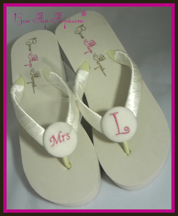 bfb7033c0 Mrs Wedge Bridal Flip Flops Ivory White heel flip flops Platform sandals  shoes Wedding color satin something Blue bridesmaids