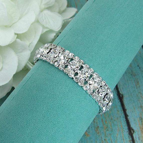 Hochzeit - Rhinestone Bridal bracelet, wedding bracelet, rhinestone crystal bracelet, crystal bracelet, bridal jewelry, wedding accessories