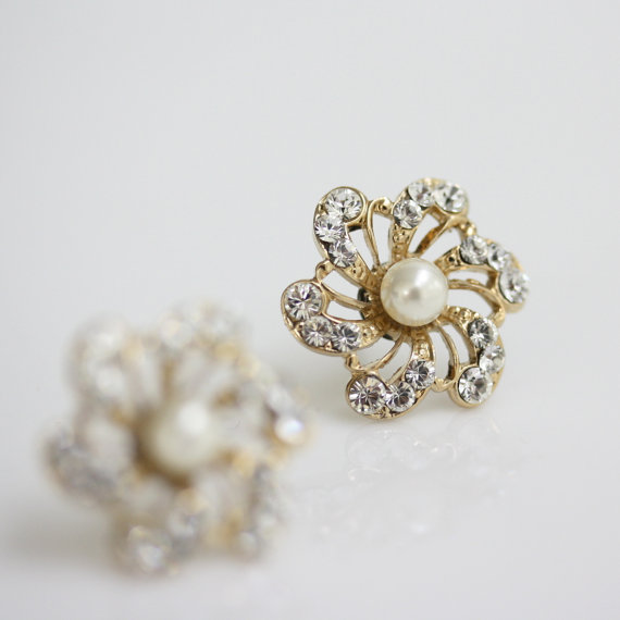 Mariage - Gold Bridal earrings,  Flower Stud Earrings, Ivory Pearl Earrings, Wedding Jewelry, SABINE Stud