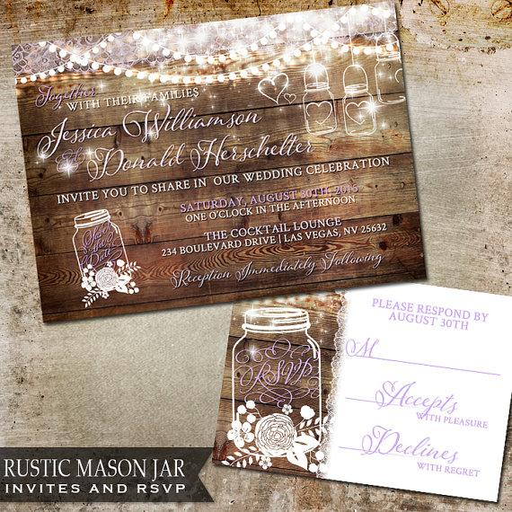 Rustic Mason Jar Wedding Invitation Wood With Flicker Handing