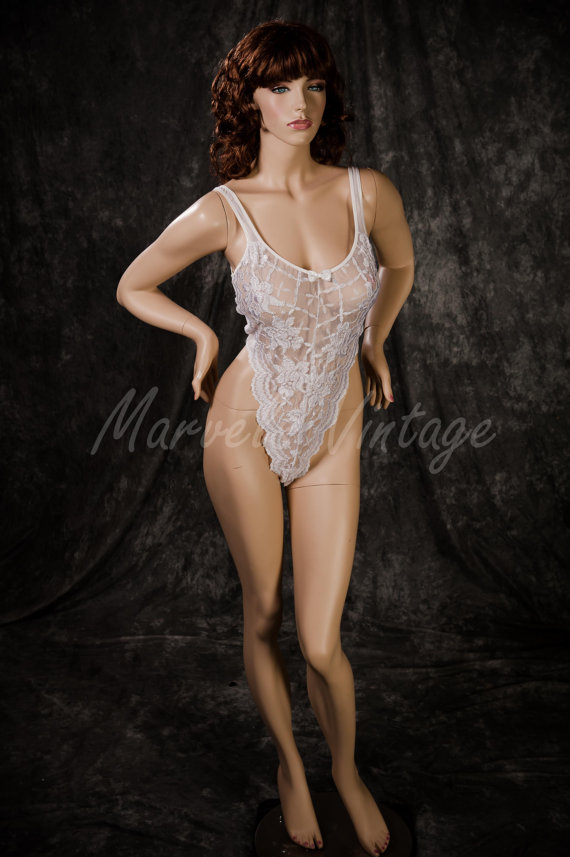dd8571dcdc9f Vintage Victoria's Secret Teddy Lingerie Sheer White Lace Gold Crown Size  Large Bridal Lingerie Honeymoon
