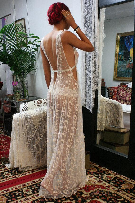 Свадьба - Heirloom Lace Bridal Nightgown Embroidered Ivory French Lace Wedding Nightgown Lingerie Silk Details