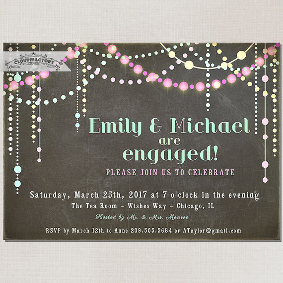 زفاف - Pastel Chalkboard Engagement Party Invitation Chalk Board Look Sparkling Lights wedding invitations Printable Digital No662