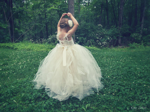 Mariage - Champagne Flower Girl Dress Tulle Tutu Roses, Crystals, and Lace with Satin Sash -Rose-