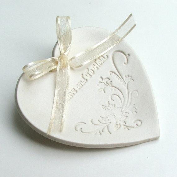 "زفاف - Weddings, Wedding Party, Ring Bearer Ring Pillows, Hand Built Porcelain, Wedding Ring Dish,  ""To Have and To Hold"",Choice of Round or Heart"