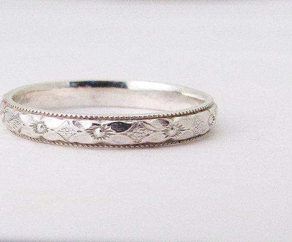 زفاف - Thin Floral Wedding Ring Engagement Ring Silver Floral Wedding Band Silver Stacking Ring Posey Ring Promise Ring