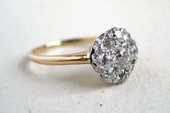 زفاف - Diamond Cluster or Diamond Halo Antique Engagement Ring or Right Hand Ring (c. 19210 - 1920) in 14k gold - .52tcw