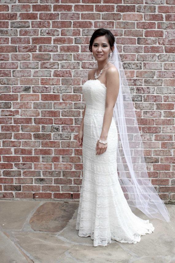 "Свадьба - Catherine** Chapel Length Veil / No Blusher, Single Tier, 75"" Length x 54"" Width, Wedding Veil, Bridal Veil, Veil, Bridal Illusion Tulle"