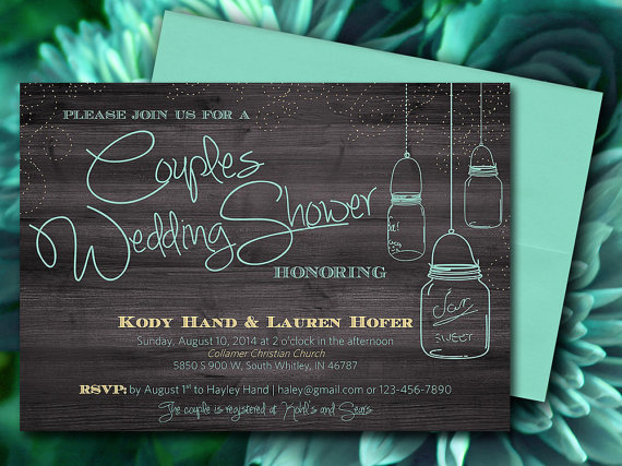 couples wedding shower mason jar wood bridal shower invitation rustic wedding shower word template mint