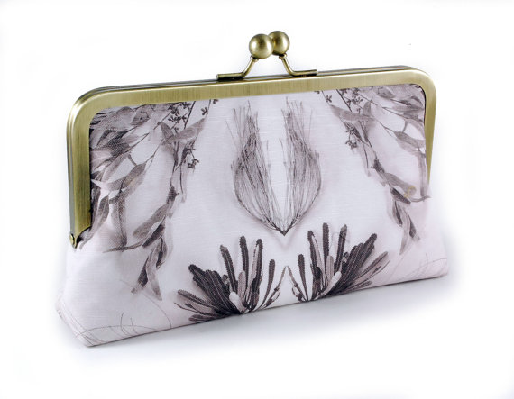 Wedding - Vintage wedding bridal clutch with botanical print with 8 inch frame and silk lining