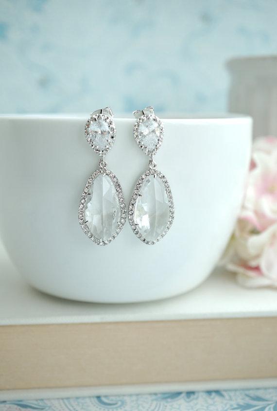 Wedding - Large Teardrop LUX Rhodium Plated Cubic Zirconia, Clear Glass Drops Earrings. Bridesmaids Jewelry, Bridal. Wedding Earrings. Glass Stones.