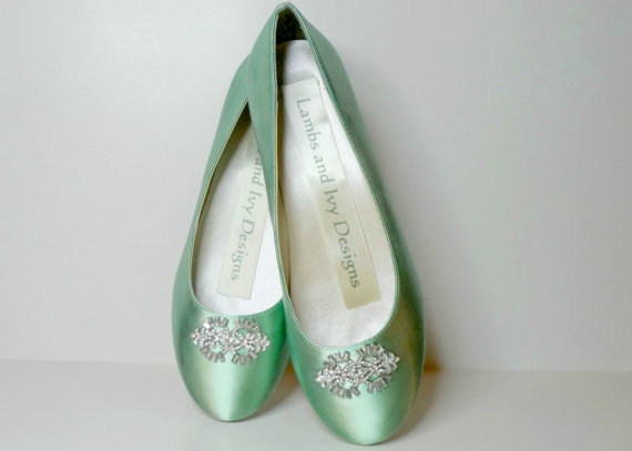 MInt Green Flats, Balletl Flats, Rhinestone Ballet Flats Bridal ...