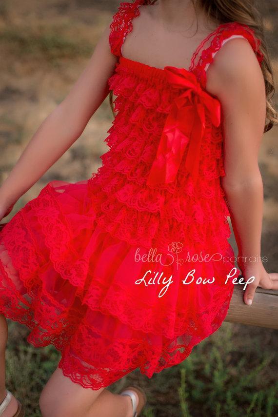 Mariage - Flower Girl Dress - Baptism Dress - Red Lace Dress-Baby girl Clothes-Newborn Girl Dress-Christmas Dress-Baby Dress-Christening Dress-Wedding