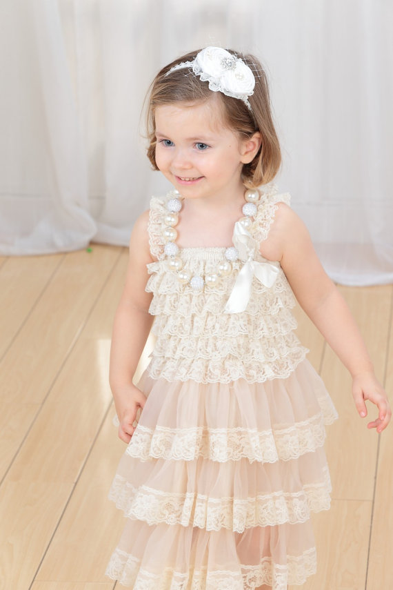 Lace Vintage Shabby Chic 3 Tier Ivory Blush Flower Girl Dress Baby ...