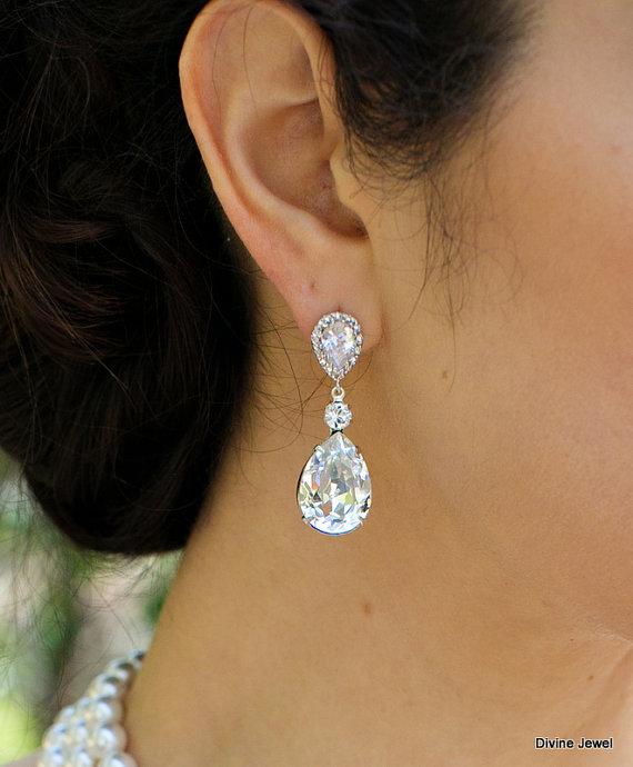 زفاف - Wedding earrings,Bridal earrings,Crystal Bridal earrings,Wedding Bridal jewelry,Swarovski Crystal,Crystal Drop Bridal Earrings,Stud,ARIA