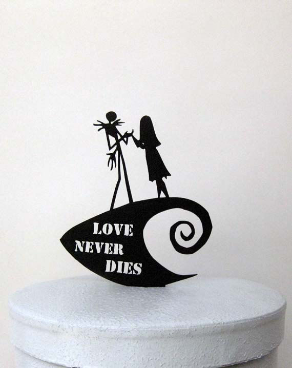 Wedding - Wedding Cake Topper -The Nightmare Before Christmas jack and Sally with Love Never Dies