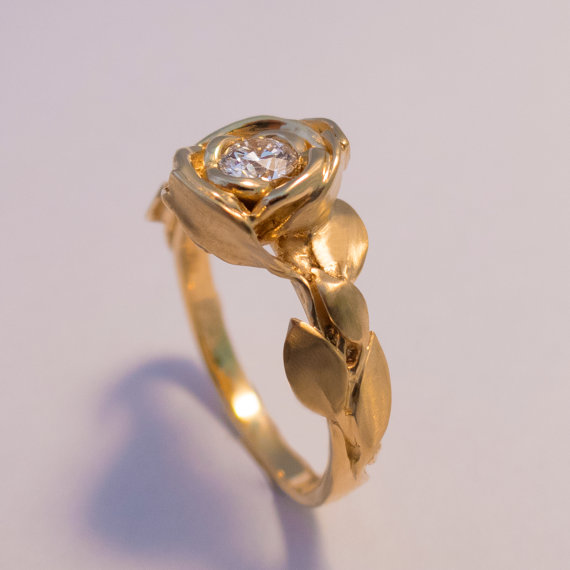 Rose Engagement Ring No 1 14K Gold And Diamond Engagement Ring