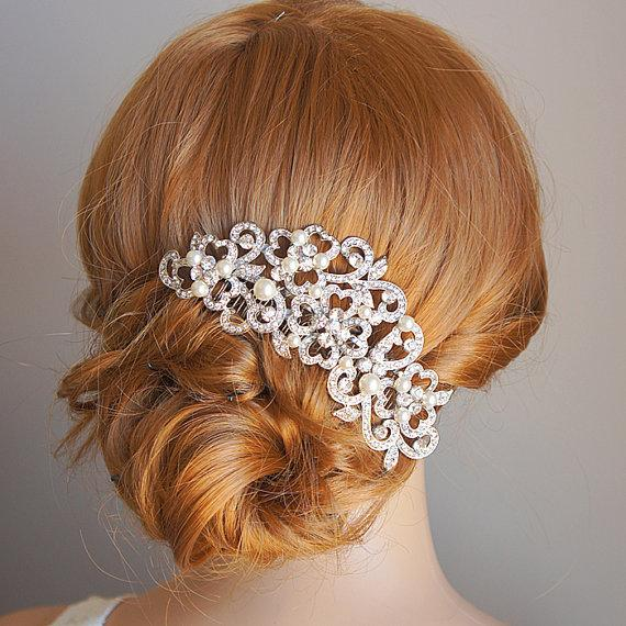 Свадьба - PERRINE, Victorian Style Wedding Hair Comb, Ivory or White Pearl and Rhinestone Bridal Hair Comb, Flower Crystal Wedding Hair Accessories