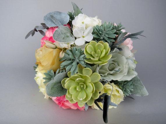 Mariage - Pale Succulent Plant Flowers Wedding Bridal Bouquet Teal Touch Bridal Bouquet