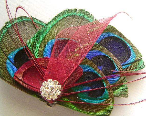 Mariage - Peacock Feather Hair Clip RUBY RED BUTTERFLY Feather and Rhinestone Wedding Hair Fascinator Clip Bridal Party
