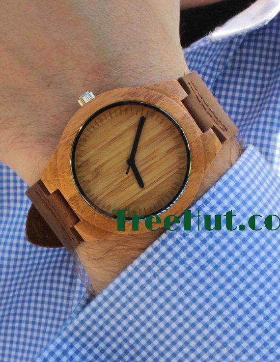 Hochzeit - Personalized Minimalist Engraved Wooden Watch Wedding Gift, Mens watch, Groomsmen gift, Anniversary Gift Bamboo Watch HUT007