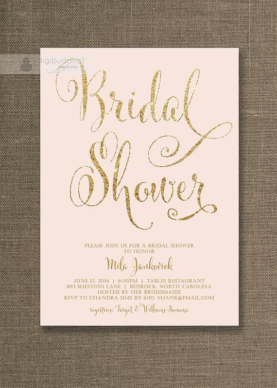 Mariage - Blush Pink & Gold Bridal Shower Invitation Glitter Pastel Wedding Hens Party Script Modern FREE PRIORITY SHIPPING or DiY Printable - Mila