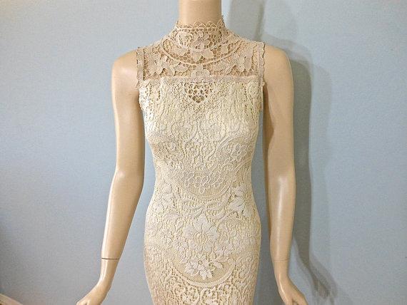 Wedding - Vintage Inspired wedding Dress HIPPIE BoHo wedding dress LACE Wedding Dress Sz Small